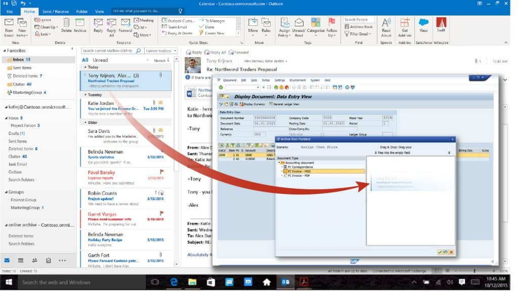 Infospire Swift Drag & Drop from Outlook into SAP